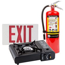 Emergency Supplies like a Exits sign, fire extinguisher, and gas stove