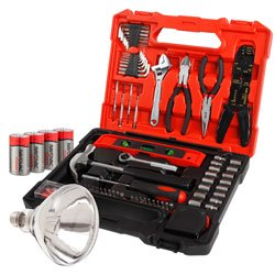 Emergency Tool kit, batteries, and light bulb