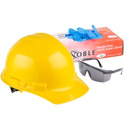 Safety Apparel like a hard hat, gloves, and glasses